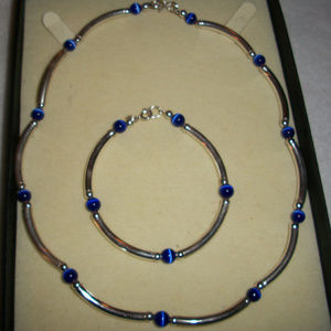 Silver MEXICO Blue Cats Eye Necklace Set